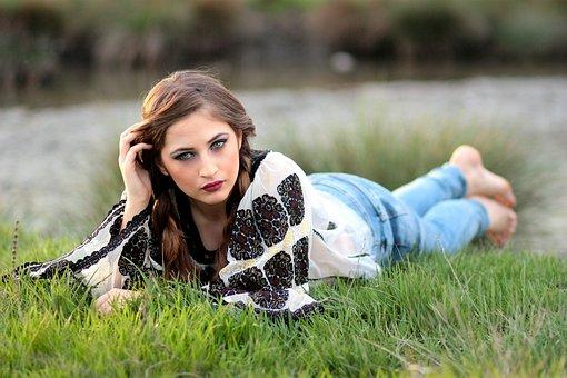 Girl, Rustic, Grass, Lake, Meadow, Green, Traditional