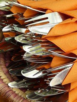 Cutlery, Knife, Fork, Napkins, Eat, Metal