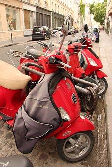 Vespa, Scooter, Street, Paris, Motorcycle, Vehicle