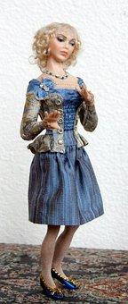 Doll, Porcelain, Dollhouse, Miniature, Blond, Costume