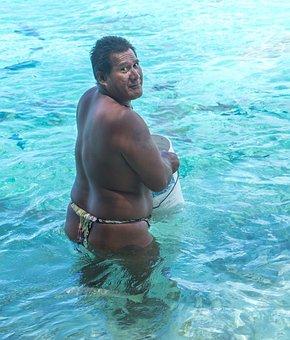 French Polynesia, Portrait, Shark Feeding, Water, Ocean