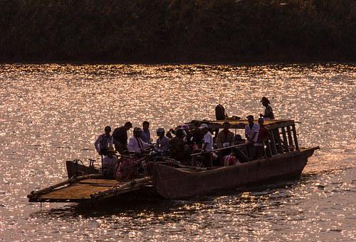 Mekong River, Ferry, River, Abendstimmung, Boot, Ship