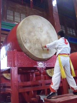 China, Chinese, Drums, Drum Tower, Shanghai, Asia