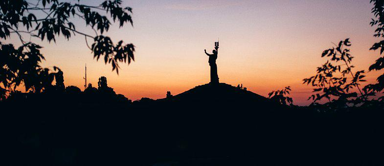 Tree, Fragment, Sunset, Statue, Evening, Silhouettes