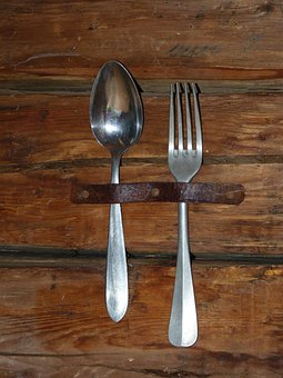 Cutlery, Spoon, Fork, Old