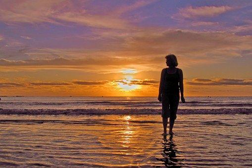 Woman, Beach, Ocean, Sunrise, Tenerife, Morgenstimmung
