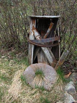 Barrel, Old, Rust, Abandoned, Grindstone