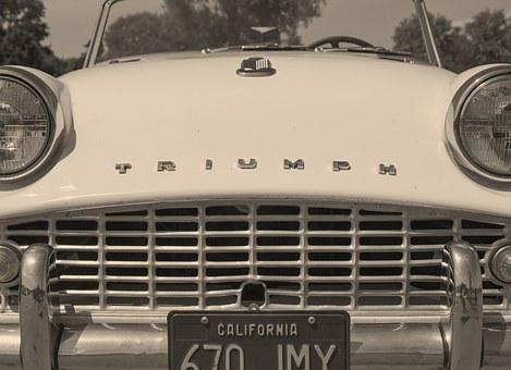 Triumph, Car, Lighthouse, Calender, In Front, Sepia