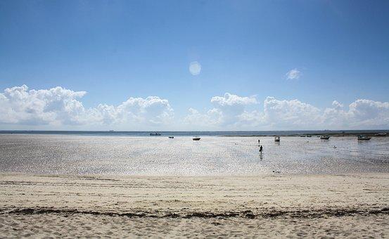 Mombasa, Coast, Kenya, Beach, Ocean, Sand, Clouds, Sky