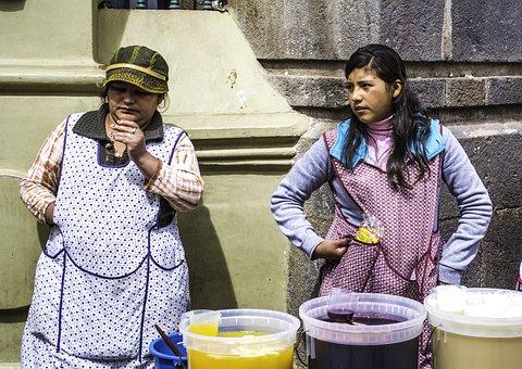 Mother, Daughter, Juice, Street Vendor, Peru, Cusco