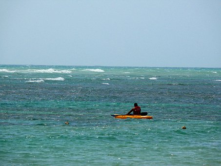 Man, Kayak, Sea, Sport, Beach, Dominican, Republic