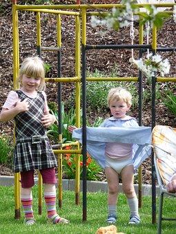 Playground, Play, Children, Girl, Climb, Dresses, Blond