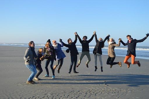 Jump, Group, Beach, Friends, Friendship, Merry, Joy
