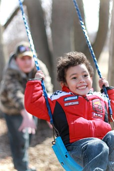 Swinging, Playground, Kids, Children, Boys, Playing