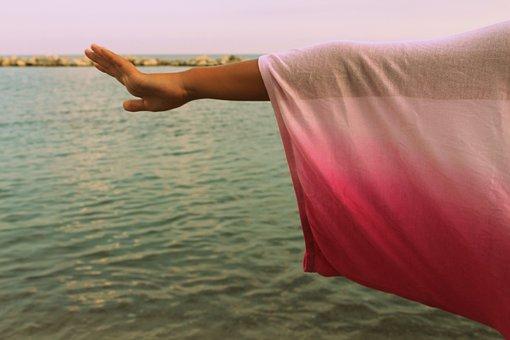 Sky, Sea, Tee Shirt, Link, Girl, Woman