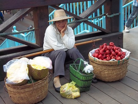 Vendor, Chinese, Fruit, Market, Woman