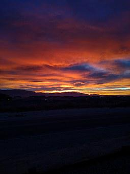 Sunset, Red, Orange, Violet, New Mexico