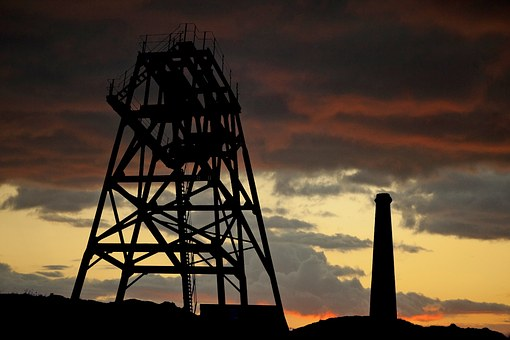 Drilling Tower, Chimney, Factory, Building, Red, Sky