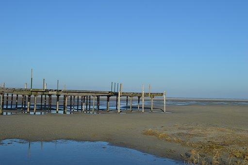 Beach, Sea, Pier, Breakwater, Water, Sand, Air, Island