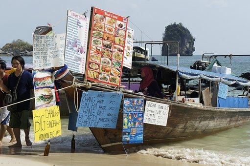 Longtail, Vendor, Thailand, Andaman, Sea, Thai, Tourism