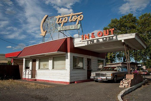 Drive-in, Cafe, Fast Food, Old Car, Vintage, Antique