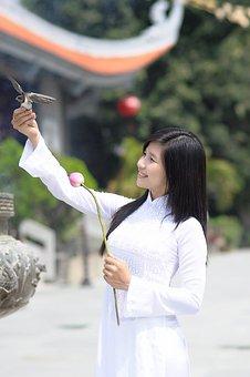 Girl, White Clothing, Pretty, Asian, Bird, In Hand