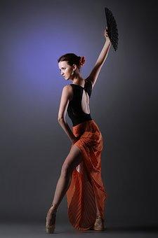 Woman, Spanish, Red Skirt, Ballet Dancer, Beauty