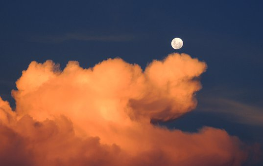 Clouds, Moon, Sky, Day, Full Moon, Cumulus, Weather