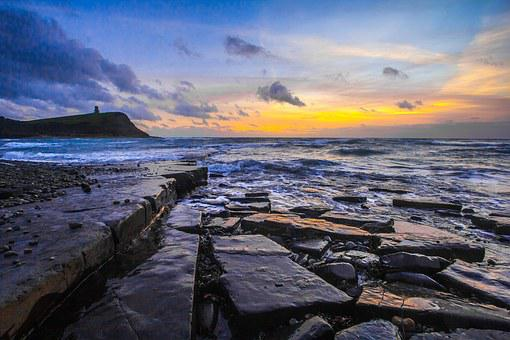 Jurassic Coast, Dorset, Sunset, Ocean