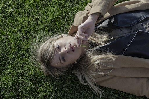 Girl, Meadow, Dreams, Grass, Face, Green, Blond