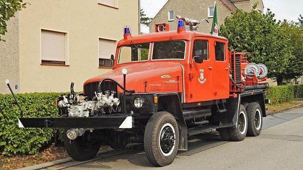 Fire, Fire Truck, Historically, Ifa G5, Ddr, Werdau