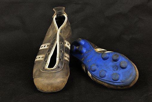 Football, Football Boots, Shoe, Sports, Grass, Old