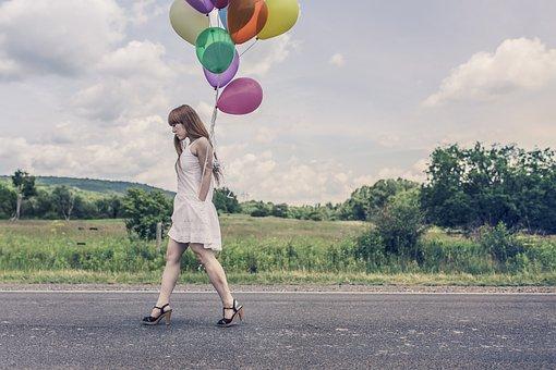 Balloons, Party, Girl, Happy, Walking, Street, Birthday