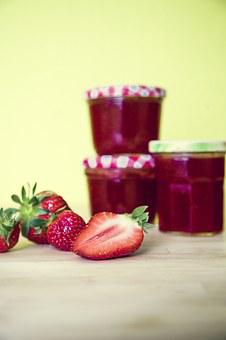 Strawberries, Jam, Glass, Cook, Spread, Vitamins