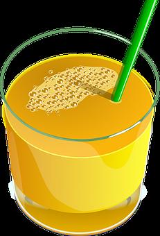 Juice, Orange, Drink, Beverage, Glass, Straw, Healthy