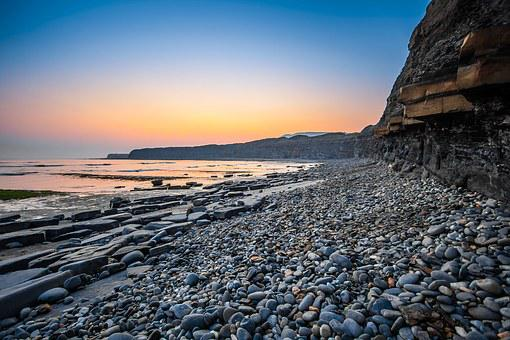 Jurassic Coast, England, Dorset, Kimmeridge Bay, Sunset