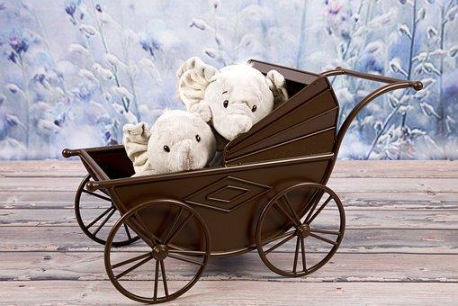 Stroller, Elephants, Mascots, Toys, Bean Bag Plush