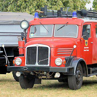 Firefighter Vehicle, Fire Truck, Old, Historically