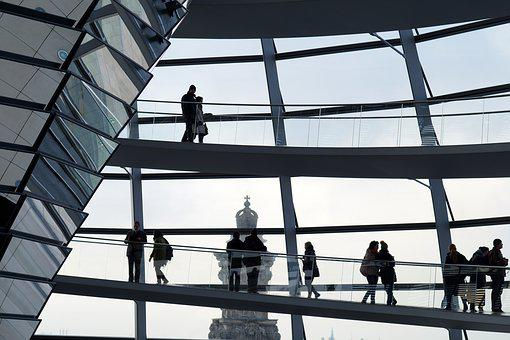 Reichstag Dome, Building, People, Silhouette
