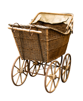 Baby Carriage, Old, Nostalgia, Png, Isolated