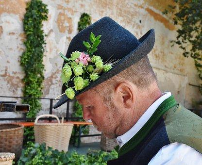 Man, Bavaria, Portrait, Work, Hat, Trachtenhut, Costume