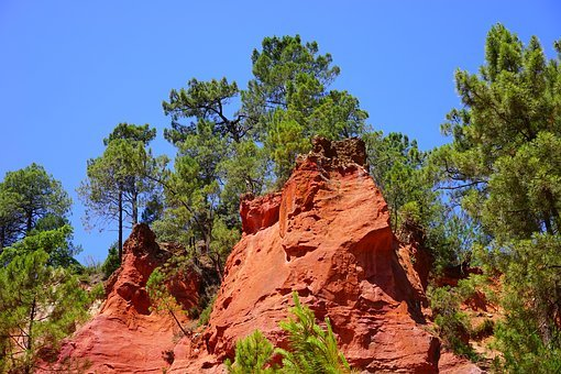 Roussillon, Ocher Rocks, Rock, Red, Reddish, Bright