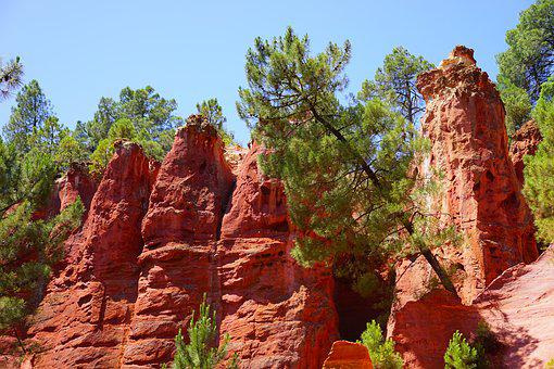 Ocher Rocks, Rock, Roussillon, Red, Reddish, Bright