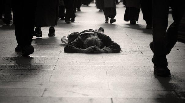 Kowtow, Tibet, Pilgrimage, Street, Careless, People