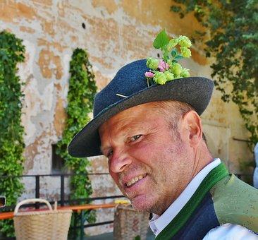 Man, Bavaria, Portrait, Hat, Costume, Trachtenhut