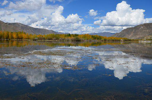 Pond, Tibet, Blue Sky, Cloud, Watercolor