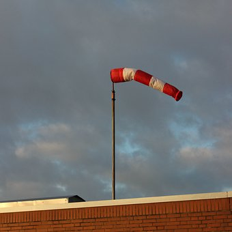 Wind Sock, Red, White, Sky, Weather, Striped, Air Bag