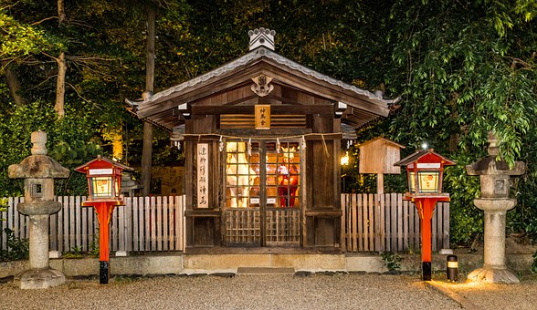 Japan, Gion, Kyoto, Yasaka-jinja Shrine, Architecture