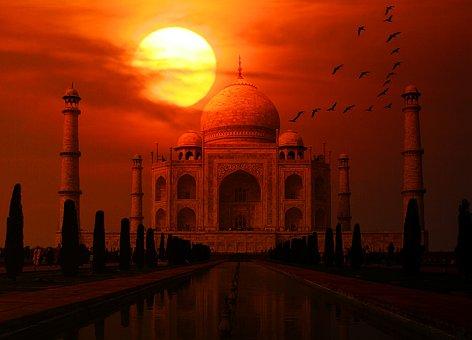 Taj Mahal, India, Sunset, Taj, Mahal, Asia, Marble