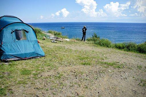 Hiking, Baikal, Lake, Baikalsee, Trekking, Camp, Tent